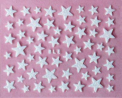 Nail Art 3D Glitter Decal Stickers White Stars Glittery Star Glitter Stickers