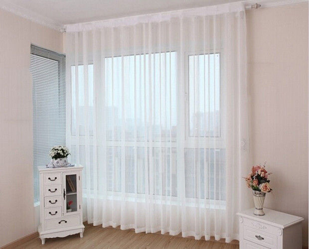 How to fit voile curtains ebay for Window voiles