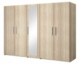 **14-DAY MONEY BACK GUARANTEE!**- TOP SELLER! Alex Gigantic 5 Door Wardrobe- SAME/NEXT DAY DELIVERY!