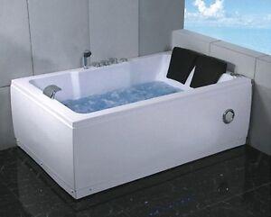 Vasca idromassaggio 185x120 rettangolare 2 posti con cromoterapia radio doppia ebay - Vasca da bagno doppia ...