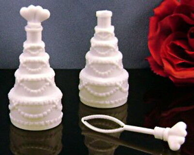 Wedding Cake Bubble Bottles (100 WEDDING CAKE BUBBLE BOTTLES BUBBLES DOUBLE HEART PARTY FAVORS FAST SHIPPING  )
