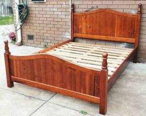 beautiful timber queen bed frame and mattress