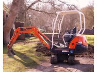 Mini Digger, Dumper and Driver Hire Kubota KX36-3 1.5 Ton