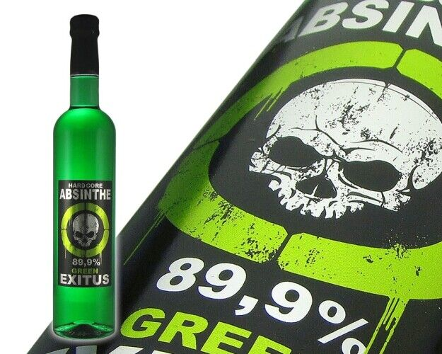 Hardcore Absinthe Green Exitus - 89,9 % - 0,5L  Thujon: 32 mg - 35 mg / L !