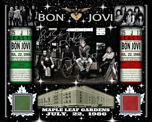 BON JOVI SIGNED RP 8x10 PHOTO JULY 22, 1986 W/ MAPLE LEAF GARDENS RED-GREEN SEAT
