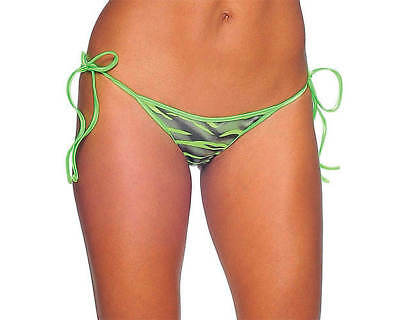 Bodyzone Apparel Zebra Print Tie Side Mini Scrunch Bikini Bottom