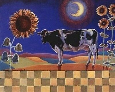 Sunflowers Floral and Country Cow Flowers Wall Decor Art Print Picture (8x10)
