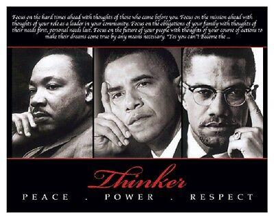 AFRICAN AMERICAN ART PRINT Thinker Peace Power Respect MLK Obama Malcolm X