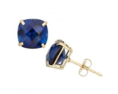 Estate 2 ctw Diamond Cut Blue Sapphire Round Stud Sterling Silver Earrings (Blue Blue Sapphire Diamond)