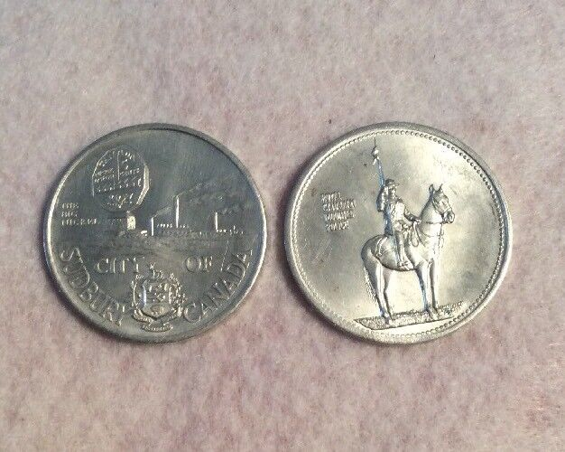 City Of Sudbury, Canada , Laurentian University Aluminum Token & Mounted Police