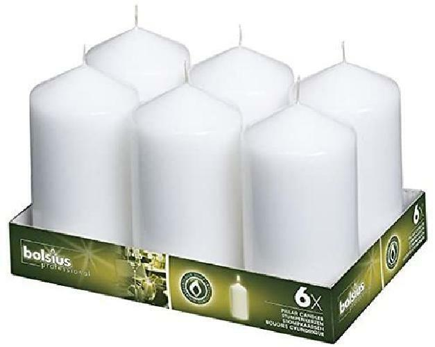 BOLSIUS Set of 6 White Unscented Pillar Candles – Large Wh