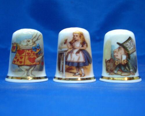 Birchcroft China Thimbles -- Set of Three -- Alice in Wonderland