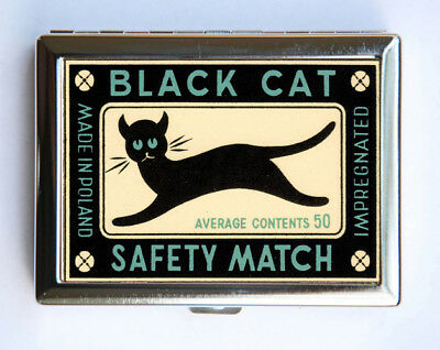 Black Cat Safety Match Cigarette Case Wallet Business Card Holder
