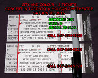 CITY AND COLOUR - 2 TICKETS - SECTION 202 Row 0 - MOLSON AMP