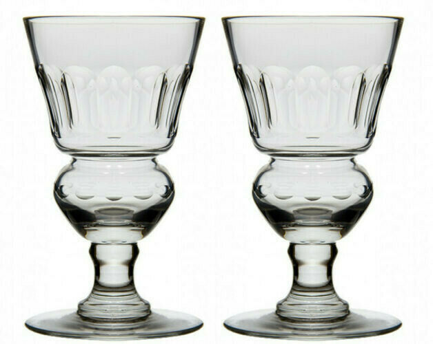 2 ORIGINAL BLOWN PONTARLIER ABSINTHE GLASSES WITH FACETS  Set Of 2