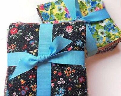 "96 Choice Florals Shabby chic precut charm 5"" square 100% cotton fabric quilt"