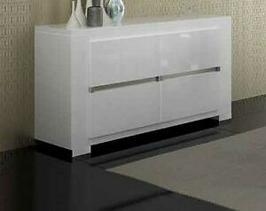 Elegance Italian High Gloss White 2 Door Sideboard Buffet