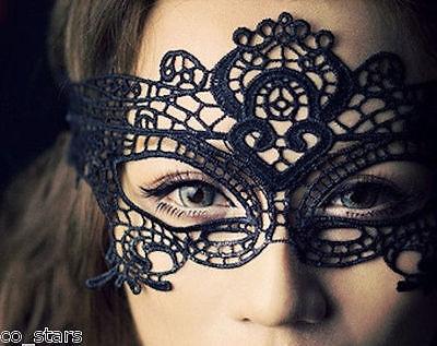 BLACK STUNNING VENETIAN MASQUERADE HALLOWEEN PARTY EYE MASK LACE FANCY - Venetian Halloween Masks Uk