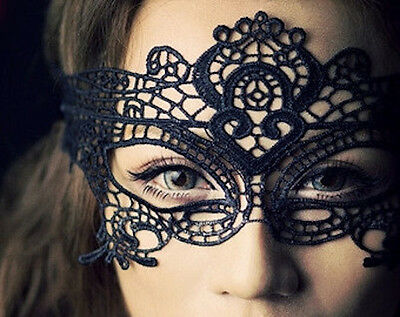 Stunning Black Venetian Masquerade Mask Eye Halloween Party Lace Fancy Dress - Venetian Halloween Masks Uk