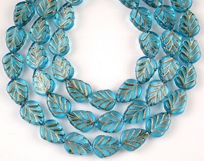 25 PCS Czech Leaf Aquamarine Gold Inlay Pressed Loose Glass Beads Craft 8x10mm Czech Pressed Glass Beads