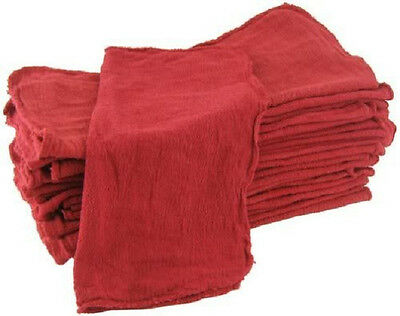 "100 industrial shop cleanup rags / towels red 14''x15"" professional grade"