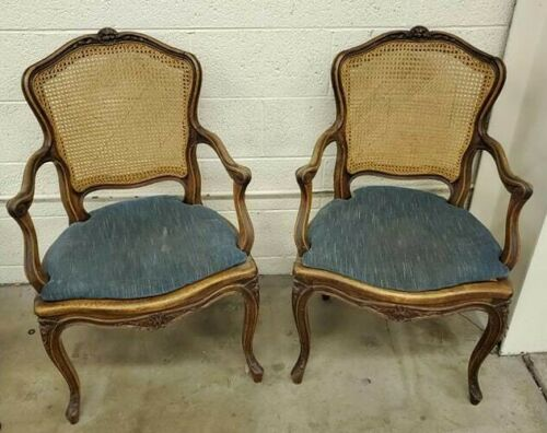 Antique Louis XV French Provincial Cane Armchair Accent Chair - Pair Side Chairs