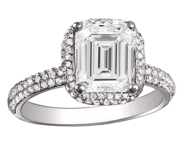 GIA Certified Diamond Engagement Halo Ring 3.95 Carat Emerald & Round Shape 18k