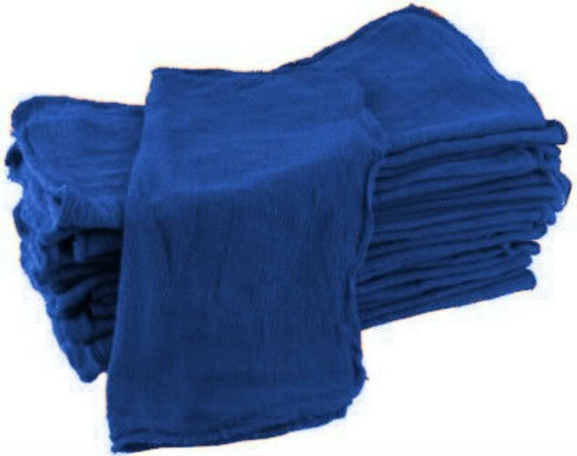100 industrial shop cleanup rags / towels blue 14