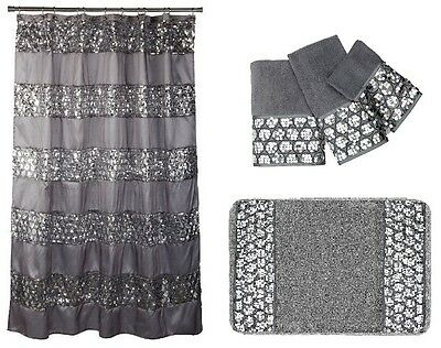 Popular Bath Sinatra Silver Shower Curtain, Rug and 3 Piece Towel Set 3 Piece Bath Shower