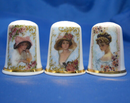 Birchcroft Thimbles -- Set of Three -- Cameo Ladies Portraits