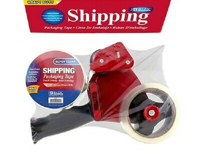 Bazic Heavy Duty Rubber Grip Tape Gun 2 Tape Dispenser With Clear Tape 2 Rolls