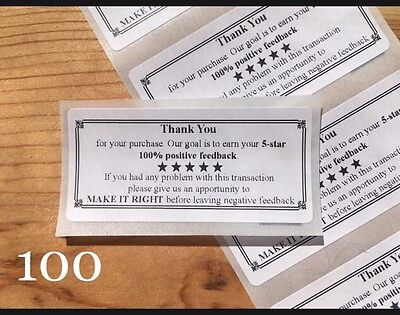 100 Thank You For Your Purchase    Envelope Package Seals Labels Stickers 5 Star