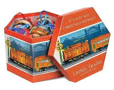 LIONEL TRAINS POST-WAR CHRISTMAS ORNAMENT GIFT BOX- NEW SEALED 14-PC SET