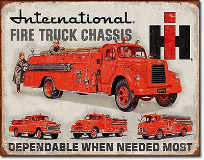* Vintage Firefighter Truck Feuerwehrauto Feuerwehr Plakat Reproschild *033