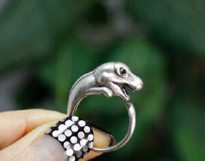 T Rex Dinosaur Animal Ring Adjustable Silver Finger Wrap Ring Size 5 to 7