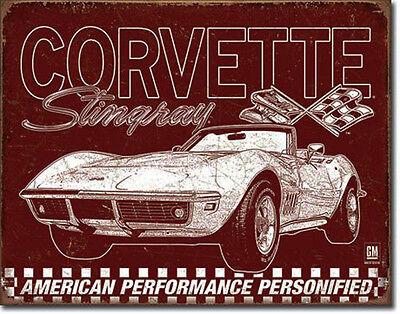 *640 Vintage 60s Corvette Stingray `69 Oldtimer Auto Classic Poster Schild Deko