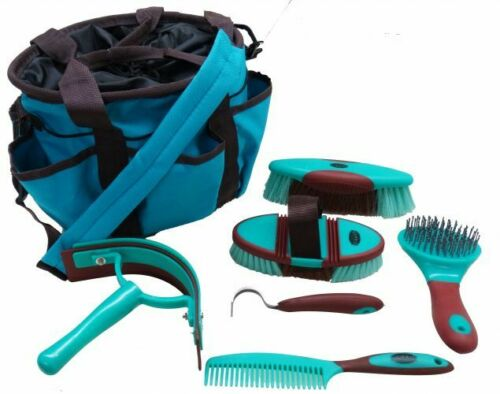 6 Pc Horse Grooming Kit w/ Mane Comb, Sweat Scraper, Brushes, Hoof Pick & Bag