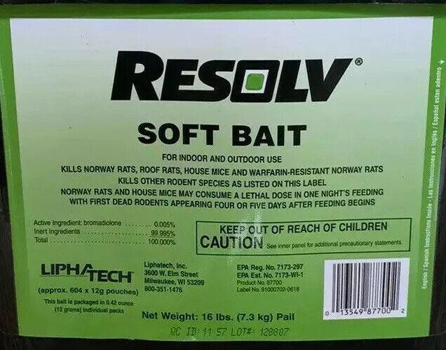 Lipha Tech Resolv Soft Bait Rodenticide 25pks Rat Bait Mice Killer Mouse Poison