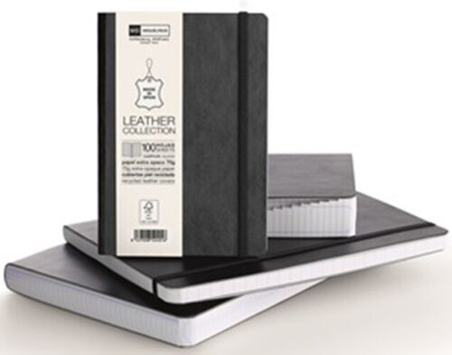 Miquelrius Genuine Leather Black Graph 200 Sheets Notebook 6x8