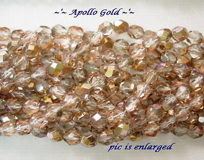 Exquisite Apollo Gold Fire Polished Faceted Czech Glass Round Beads 6Mm
