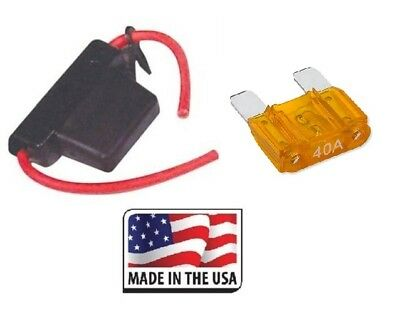 10 GAUGE INLINE MAXI FUSE HOLDER WITH WATERPROOF COVER INCLUDES 40 AMP FUSE USA