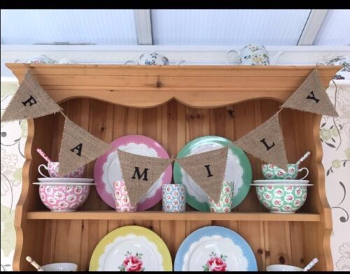 Family Hessian Bunting Vintage Shabby Chic Sign