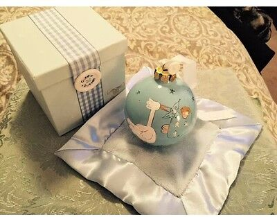 CALANDRA BABY BOY ORNAMENT WITH BLANKET