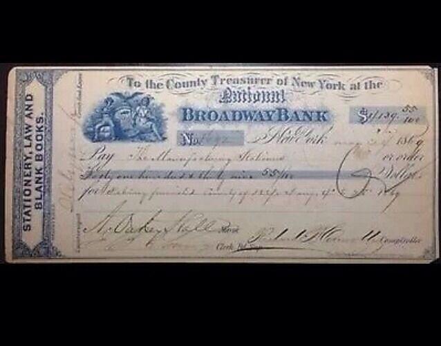 1869 Historic Organized Crime Rare Mob Check Boss Tweed New York Political Ring