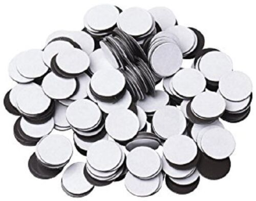 """100 pcs 1"""" (60 mil) Magnetic Adhesive Circles Magnets Peel & Stick Made in USA"""