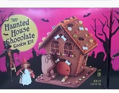Trader Joes Haunted House Chocolate Cookie Kit Halloween Treat Edible - Halloween Decorated Cookies