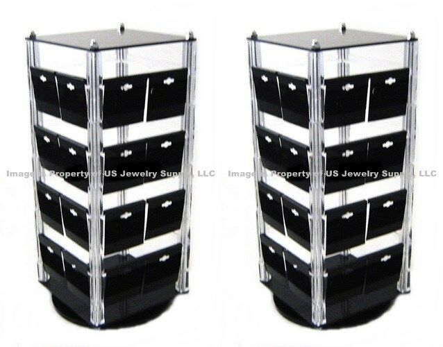 Lot of 2 Rotating Acrylic Earring Revolving Display Stands With 100 Black Cards
