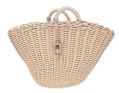 DOLCE & GABBANA Beige Woven Leather Hand Shopping Bag Purse Clutch NEW $1000