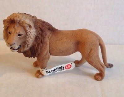 New Schleich Male Lion Retired #14373 Wild Life Series With Tag Figure Animal