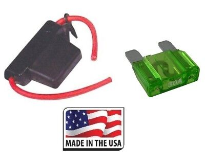 10 GAUGE INLINE MAXI FUSE HOLDER WITH 30 AMP FUSE Water Proof Made in USA